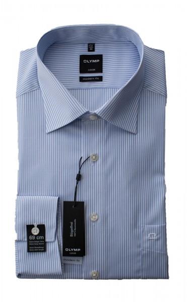Hellblau-weiß gestreiftes Hemd Olymp Modern Fit Luxor extra Langarm 69cm