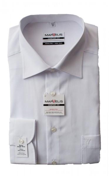 Weißes Hemd Marvelis Comfort Fit extra Langarm 69cm