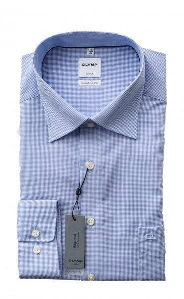 Hellblau-weiß kariertes Hemd Olymp Comfort Fit Luxor Langarm