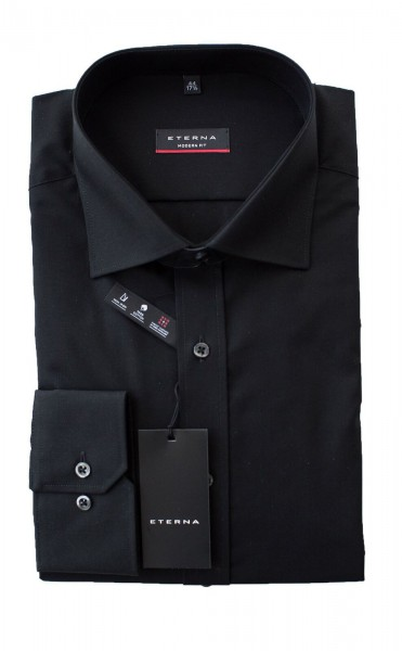 Schwarzes Hemd Eterna Modern Fit Langarm ohne Brusttasche