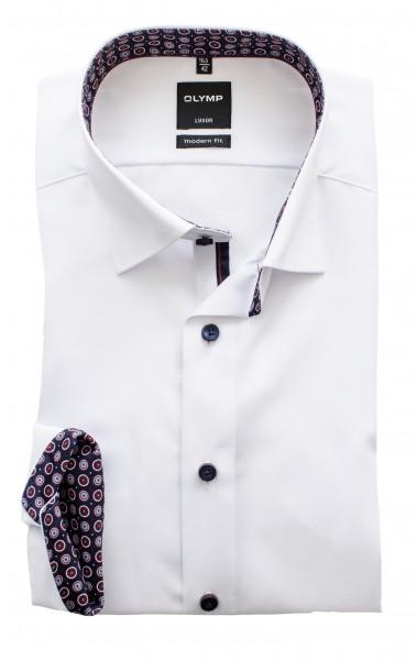 Olymp Modern Fit Luxor Langarm Weiß ausgeputzt Under-Button-down