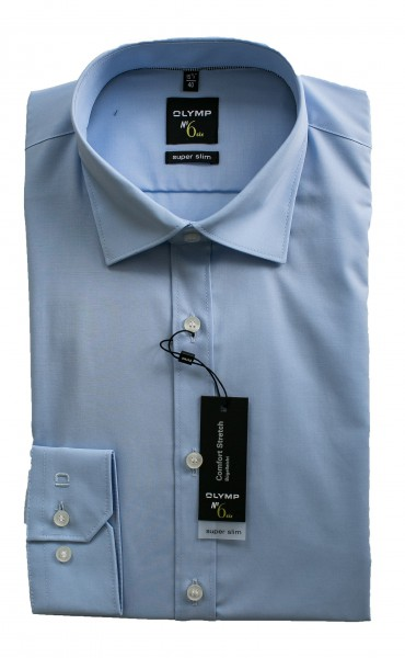 Hellblaues Hemd Olymp Super Slim № 6 Langarm Under-Button-Down