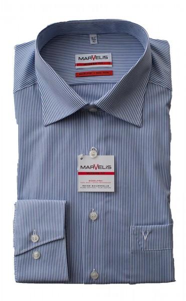 Blau-weißes Hemd Marvelis Modern Fit Zündholzstreifen