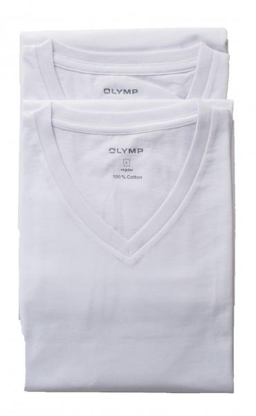 Weißes T-Shirt Olymp Doppelpack V-Ausschnitt