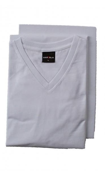 Weißes T-Shirt Marvelis Doppelpack V-Ausschnitt