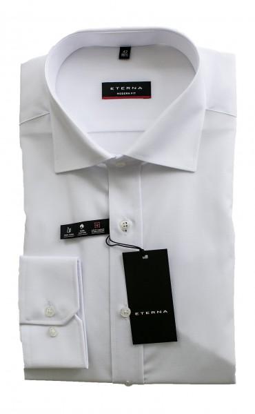 Weißes Hemd Eterna Modern Fit Langarm ohne Brusttasche