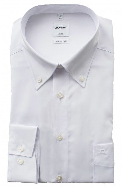 Olymp Comfort Fit Luxor Langarm WEISS Button-Down