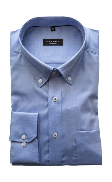 Eterna Comfort Fit Langarm BLAU button-down