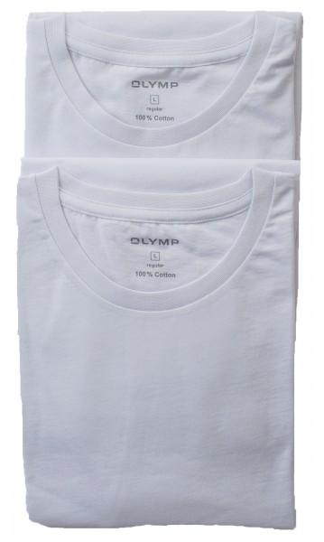 Olymp T-Shirt Doppelpack WEISS Rundhals
