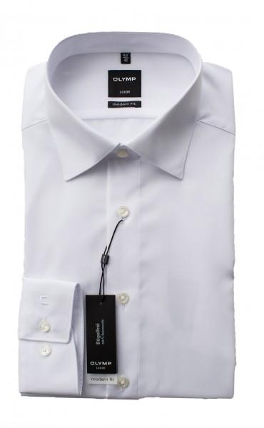 Weißes Hemd Olymp Modern Fit Luxor Langarm Kragen kantig gesteppt