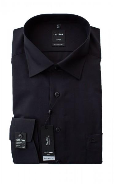 Schwarzes Hemd Olymp Modern Fit Luxor extra Langarm 69cm