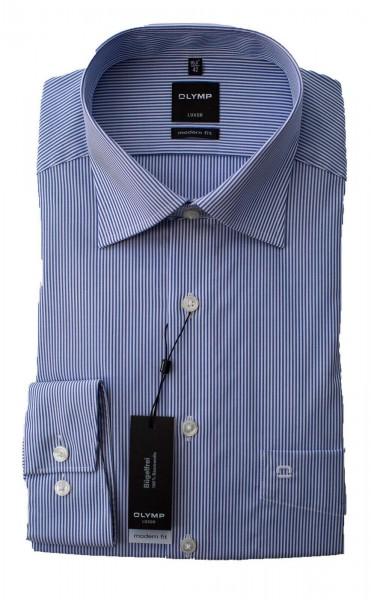 Blau-weiß gestreiftes Hemd Olymp Modern Fit Luxor Langarm