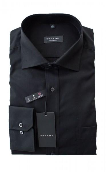 Schwarzes Hemd Eterna Comfort Fit Langarm