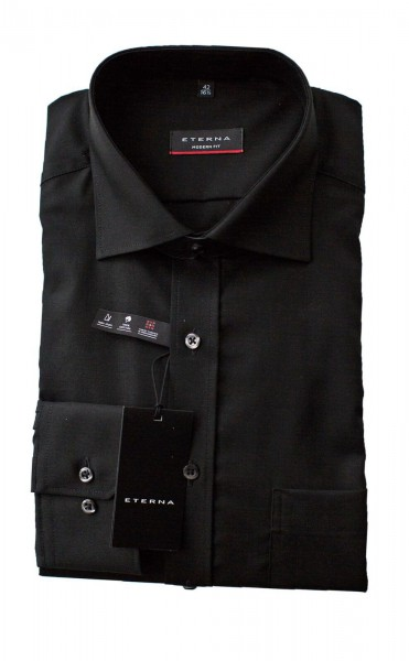 Schwarzes Hemd Eterna Modern Fit Langarm