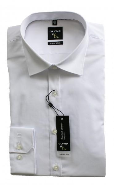 Weißes Hemd Olymp Super Slim № 6 Langarm Under-Button-Down