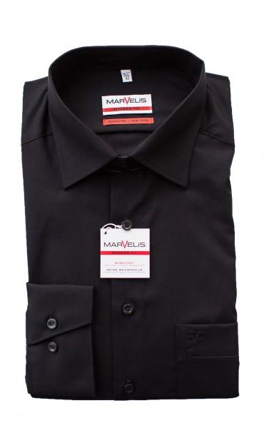 Schwarzes Hemd Marvelis Modern Fit
