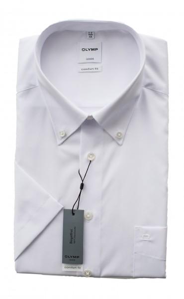 Weißes Hemd Olymp Comfort Fit Luxor Kurzarm Button-Down