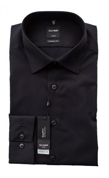 Schwarzes Hemd Olymp Modern Fit Luxor Langarm Kragen kantig gesteppt
