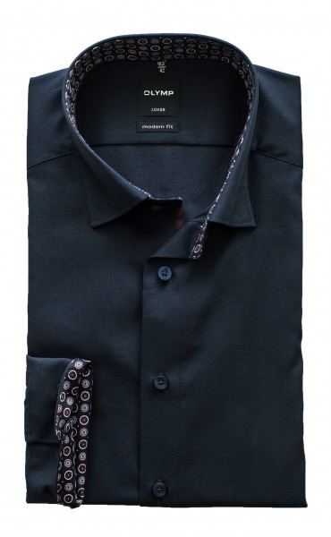 Olymp Modern Fit Luxor Langarm Marine ausgeputzt Under-Button-down