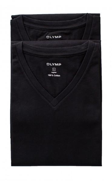 Schwarzes T-Shirt Olymp Doppelpack V-Ausschnitt