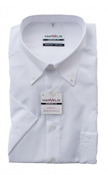 Marvelis Comfort Fit Kurzarm WEISS Button-Down
