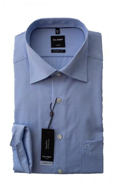 Hellblau-weiß kariertes Hemd Olymp Modern Fit Luxor Langarm