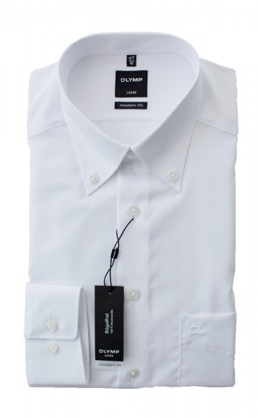 Olymp Modern Fit Luxor Langarm WEISS Button-Down