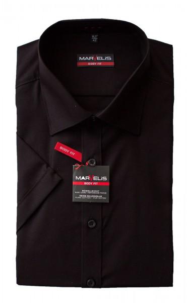 Schwarzes Hemd Marvelis Body Fit Kurzarm