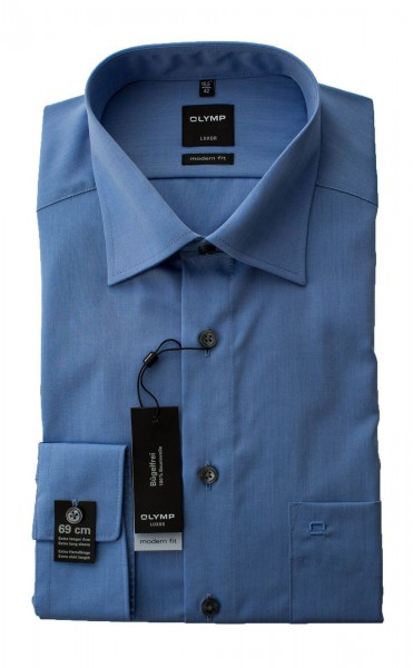 Blaues Hemd Olymp Modern Fit Luxor extra Langarm 69cm