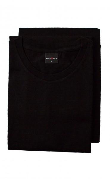 Schwarzes T-Shirt Marvelis Doppelpack Rundhals