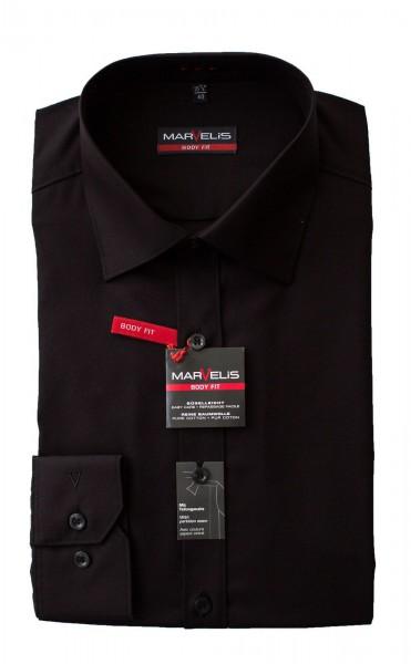 Schwarzes Hemd Marvelis Body Fit Langarm mit Teilungsnaht