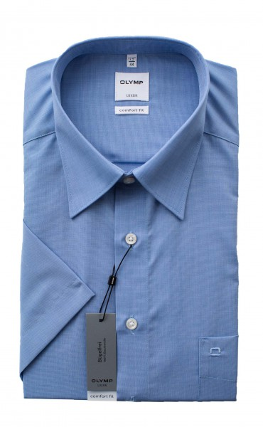 Blaues Hemd Olymp Comfort Fit Luxor Kurzarm Fil à Fil