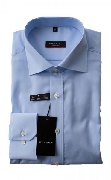Hellblaues Hemd Eterna Modern Fit Langarm ohne Brusttasche