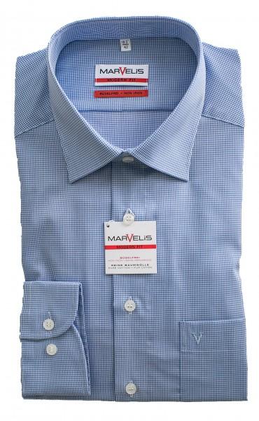 Blau-weißes Hemd Marvelis Modern Fit Vichykaro