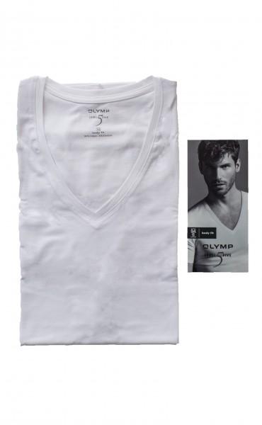 Weißes T-Shirt Olymp Body Fit Level 5 V-Ausschnitt