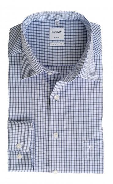 Blau-weiß kariertes Hemd Olymp Comfort Fit Luxor Langarm