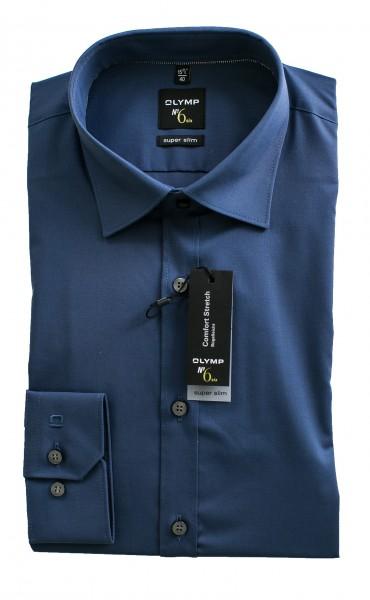 Blaues Hemd Olymp Super Slim № 6 Langarm Under-Button-Down