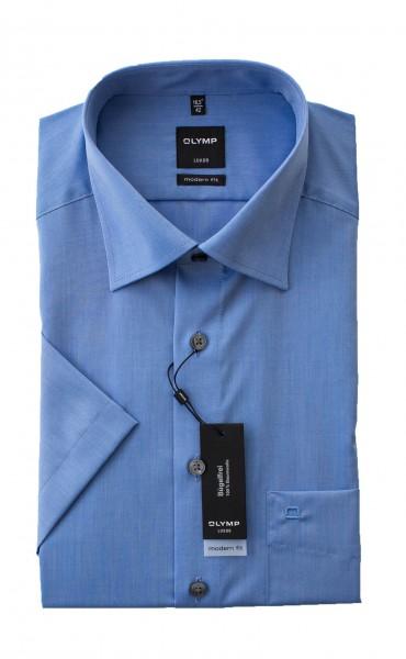 Chambray blau Hemd Olymp Modern Fit Luxor Kurzarm