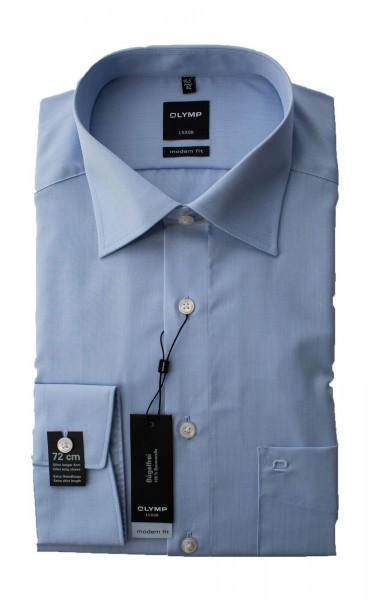 Chambray blaues Hemd Olymp Modern Fit Luxor extra Langarm 72cm