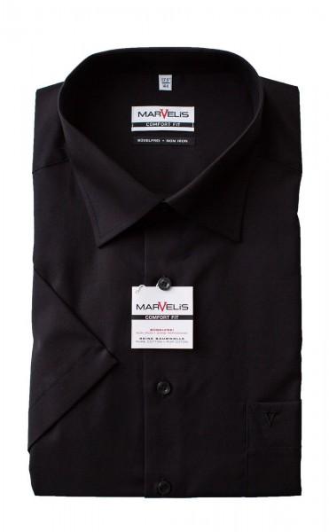 Schwarzes Hemd Marvelis Comfort Fit Kurzarm