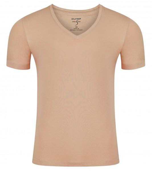 Olymp T-Shirt Body Fit Level 5 Caramel tiefer V-Ausschnitt
