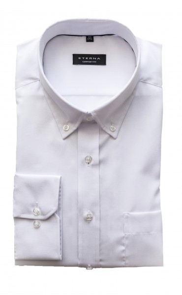 Eterna Comfort Fit Langarm WEISS button-down