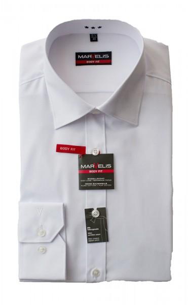Weißes Hemd Marvelis Body Fit Langarm mit Teilungsnaht
