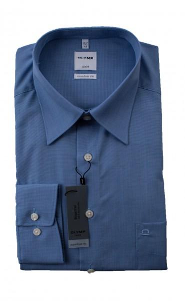 Blaues Hemd Olymp Comfort Fit Luxor Langarm Fil à Fil