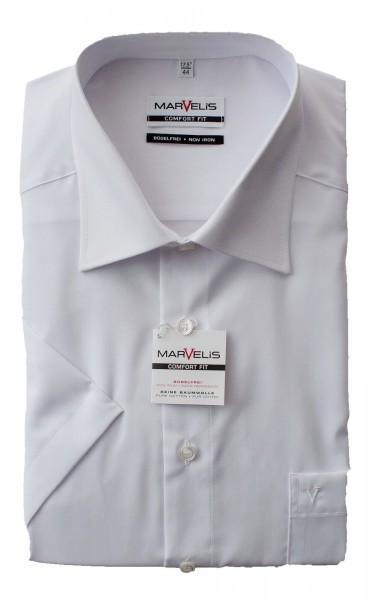 Weißes Hemd Marvelis Comfort Fit Kurzarm