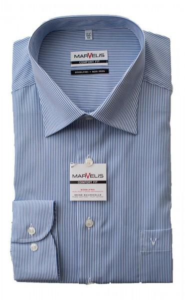 Blau-Weiß gestreiftes Hemd Marvelis Comfort Fit Langarm