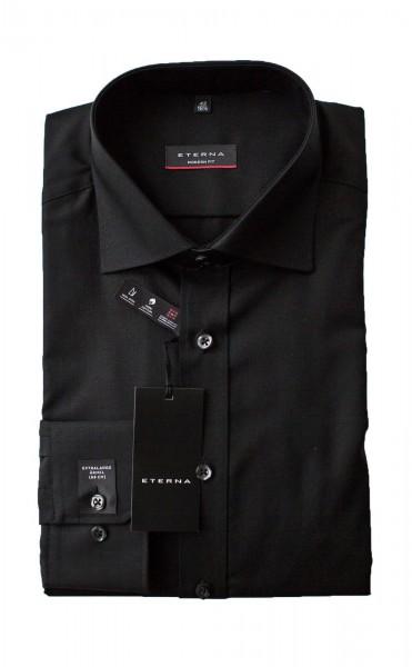 Schwarzes Hemd Eterna Modern Fit extra Langarm 68cm