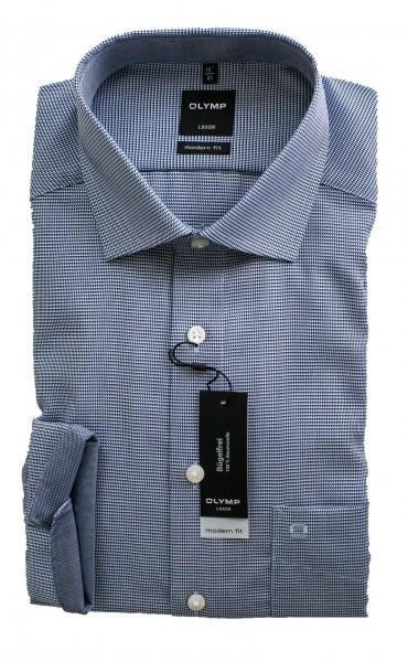 Gemustert blaues Hemd Olymp Modern Fit Luxor Langarm